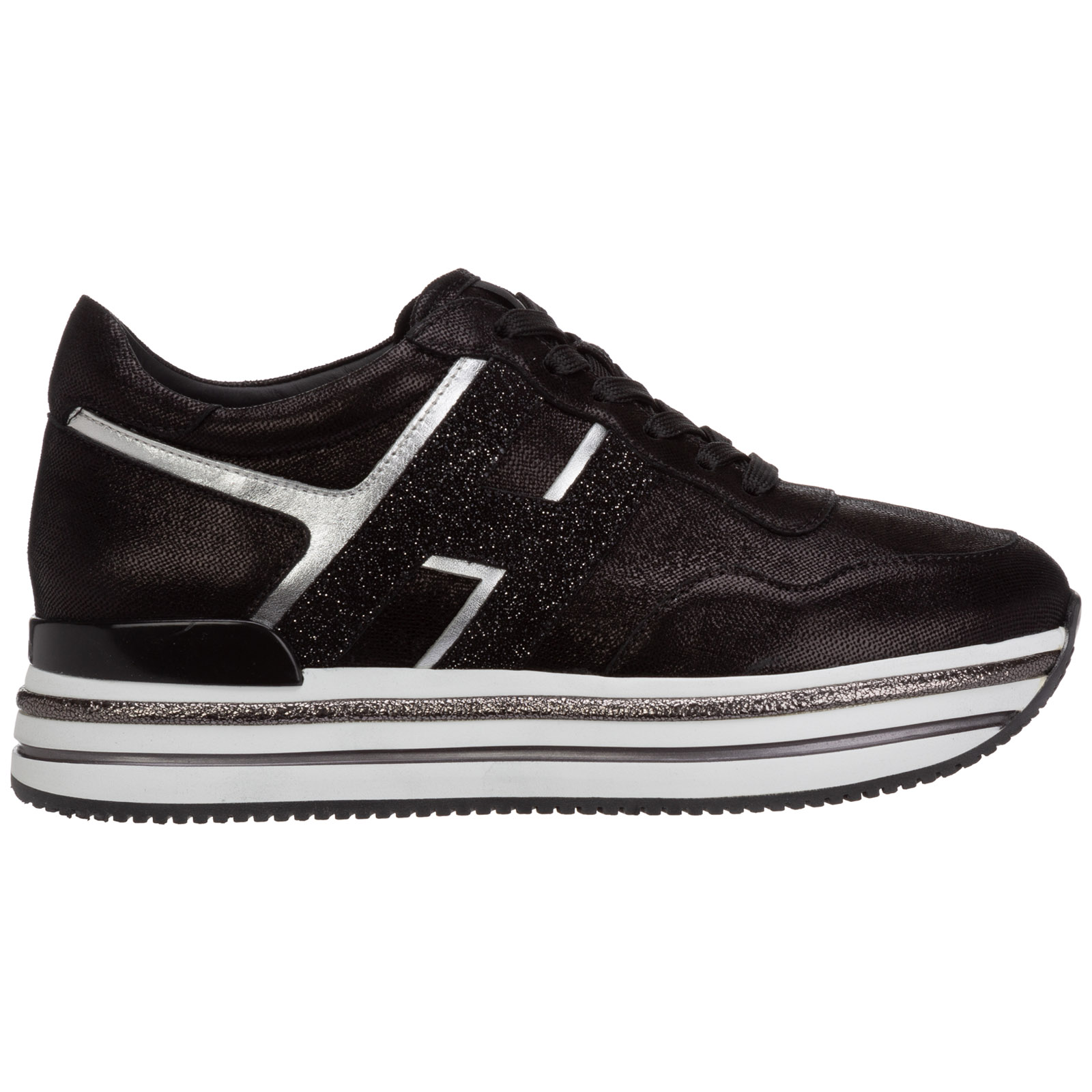 Women's shoes leather trainers sneakers midi h222