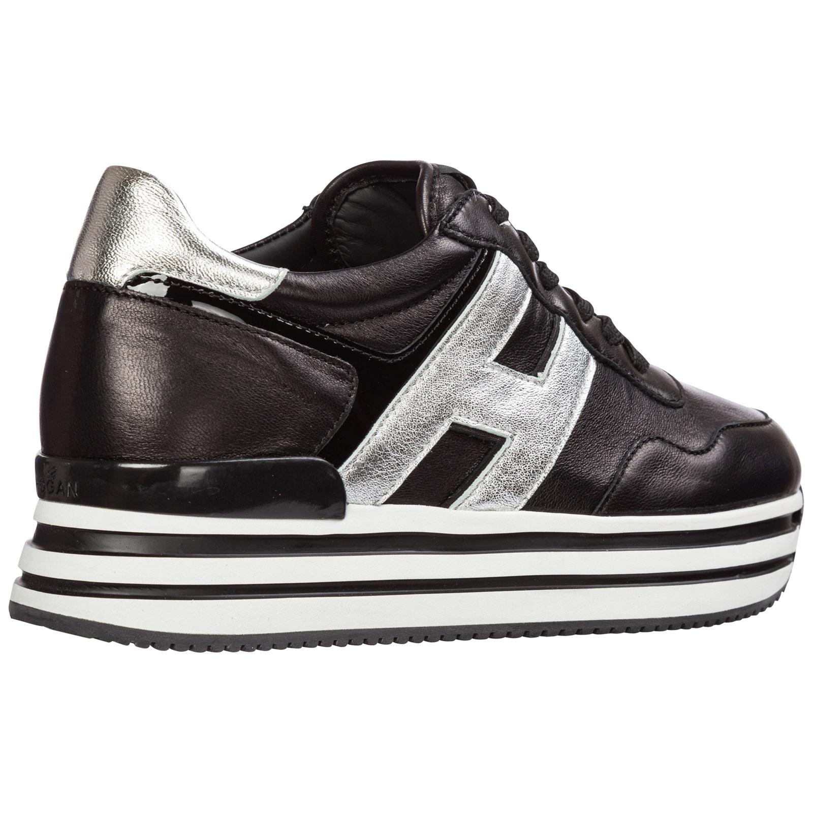 Scarpe sneakers donna in pelle midi platform