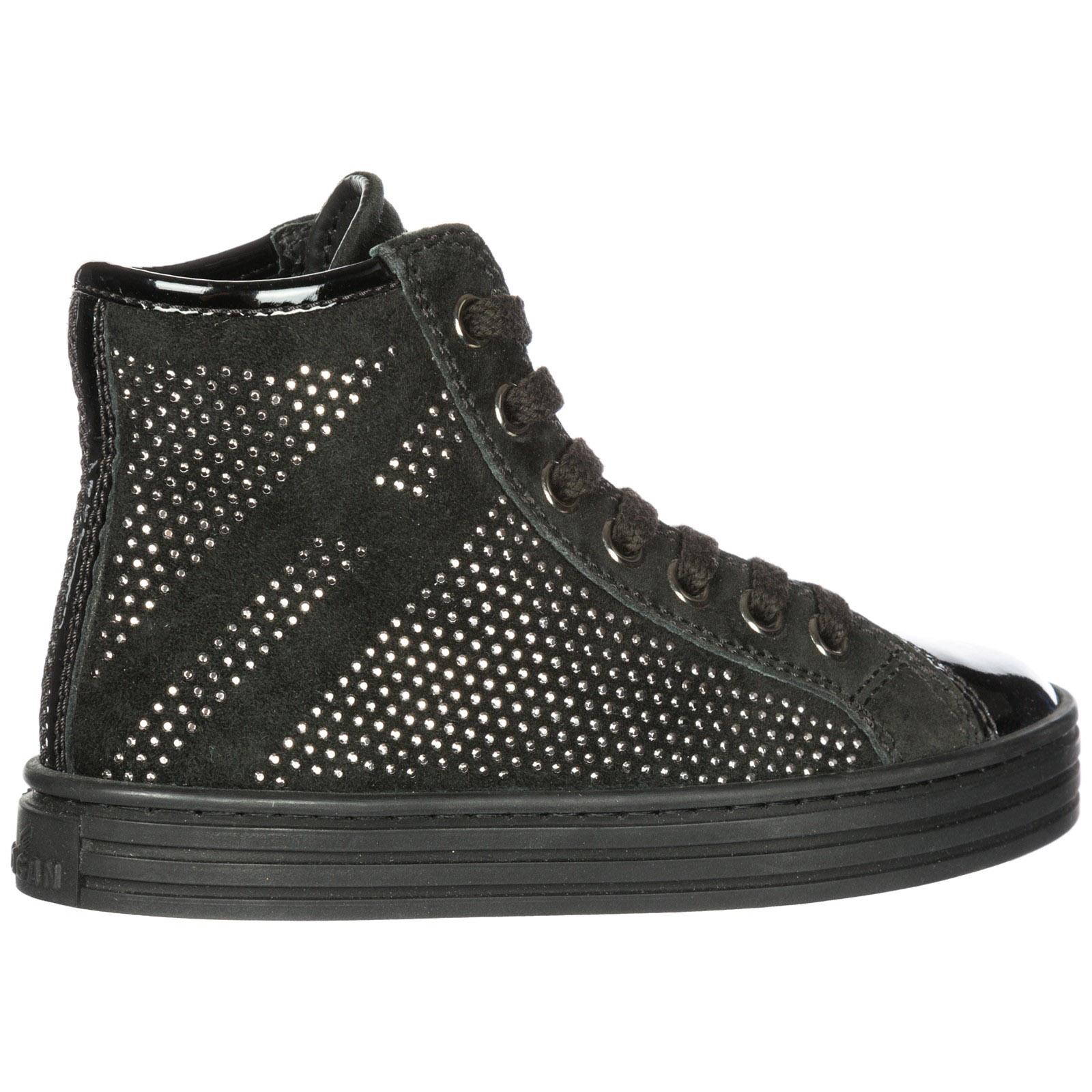 Scarpe sneakers bambina alte camoscio r141