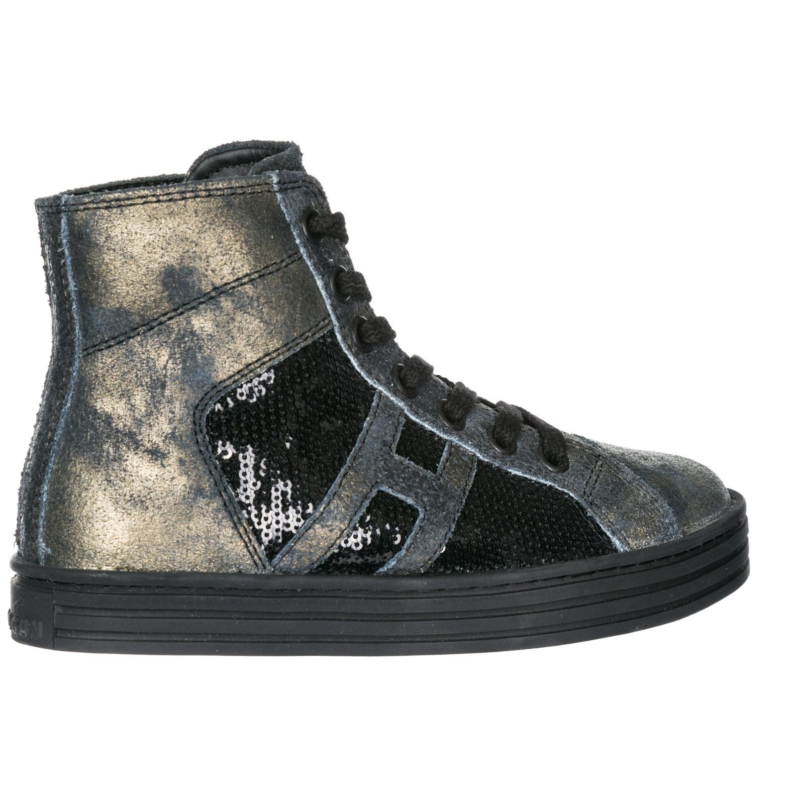 Scarpe sneakers bambina alte pelle r141