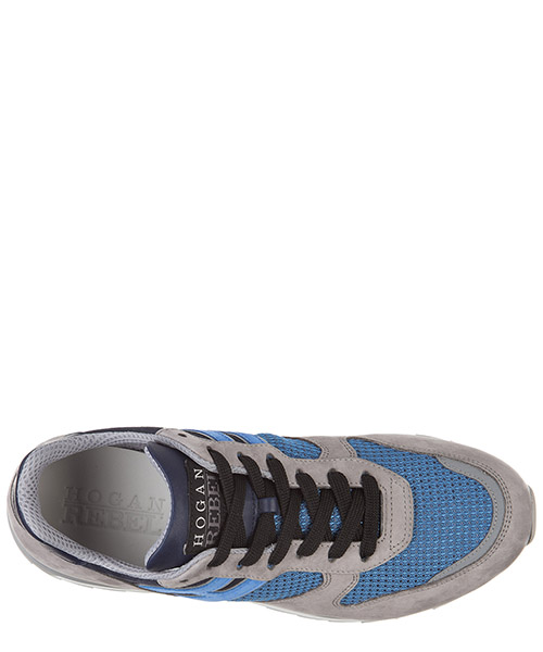 Men's shoes leather trainers sneakers allacciato r261 secondary image