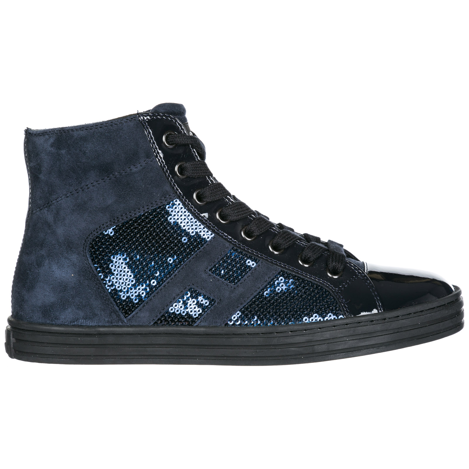 599e5d847edc Hogan Rebel Women S Shoes High Top Leather Trainers Sneakers R141 In Blue