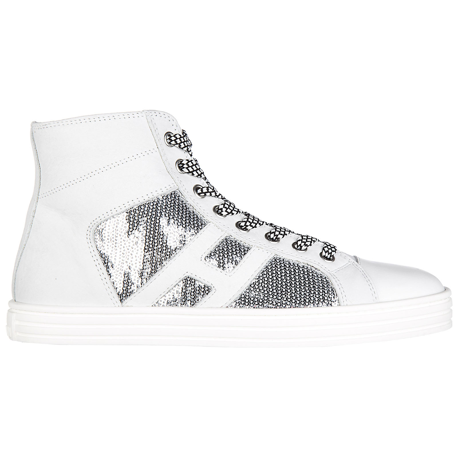 aaf4590db2f49 Hogan Rebel Women s shoes high top suede trainers sneakers r141 laterale  pailettes tessuto