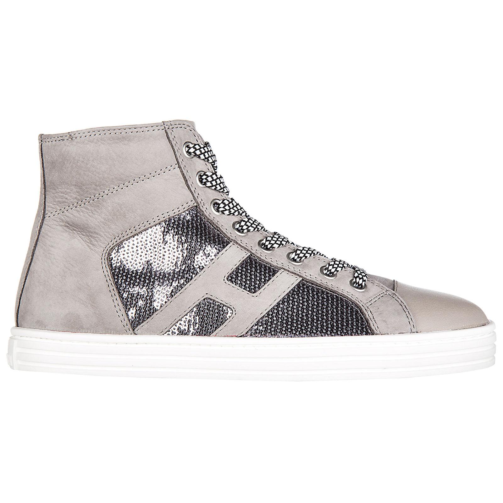 Scarpe sneakers alte donna in camoscio r141 laterale pailettes tessuto