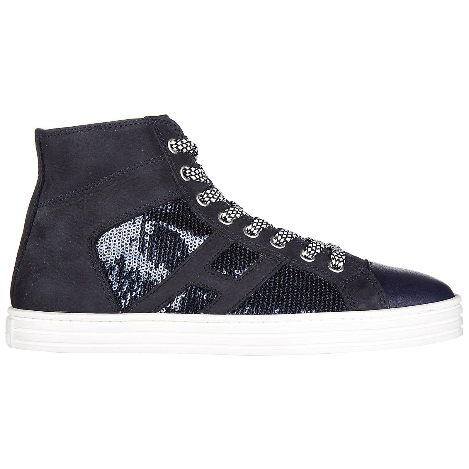 Scarpe sneakers alte donna in camoscio r141 laterale pailettes