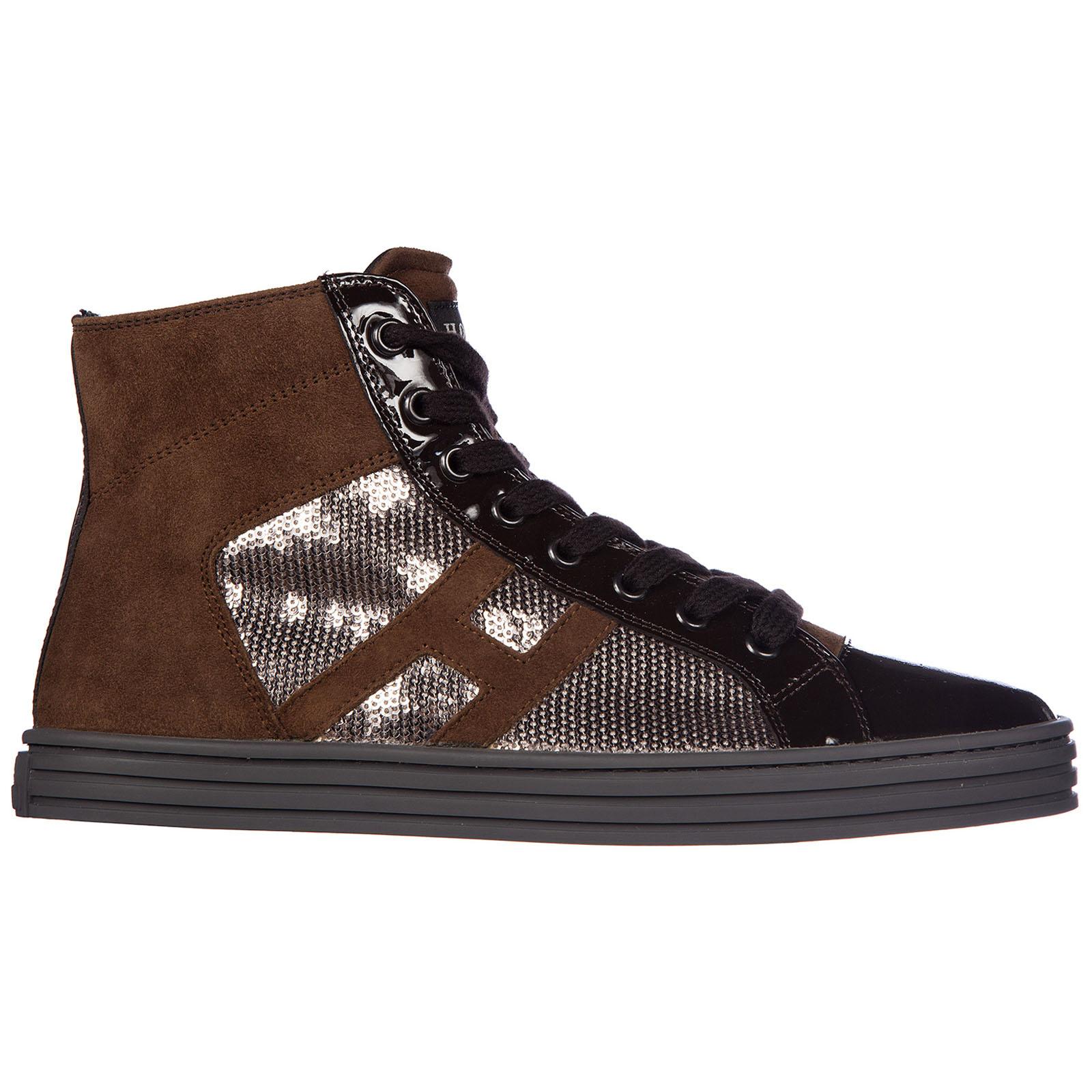 Scarpe sneakers alte donna in camoscio rebel r141 laterale paillettes tessuto