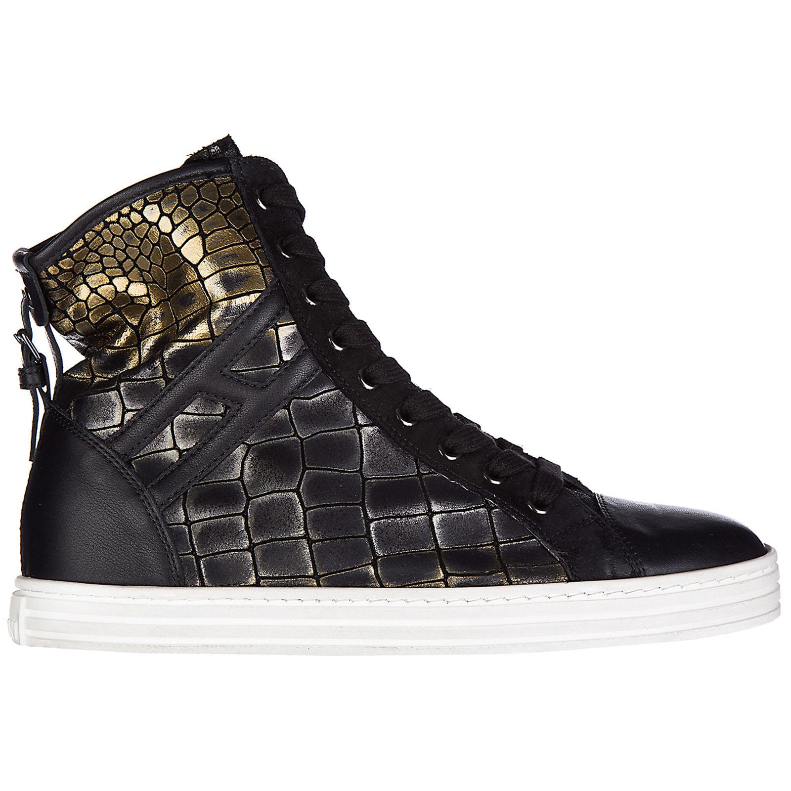 Scarpe sneakers alte donna in pelle r182 allacciato cinturino