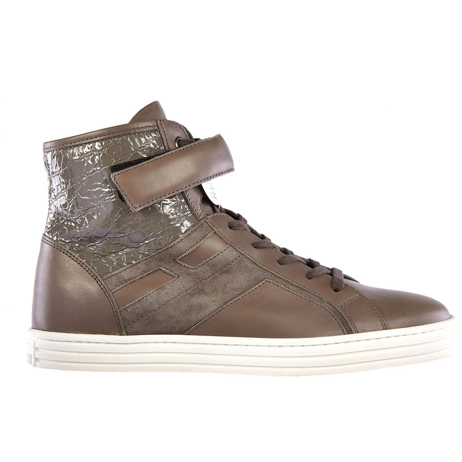 Scarpe sneakers alte donna in pelle rebel r182