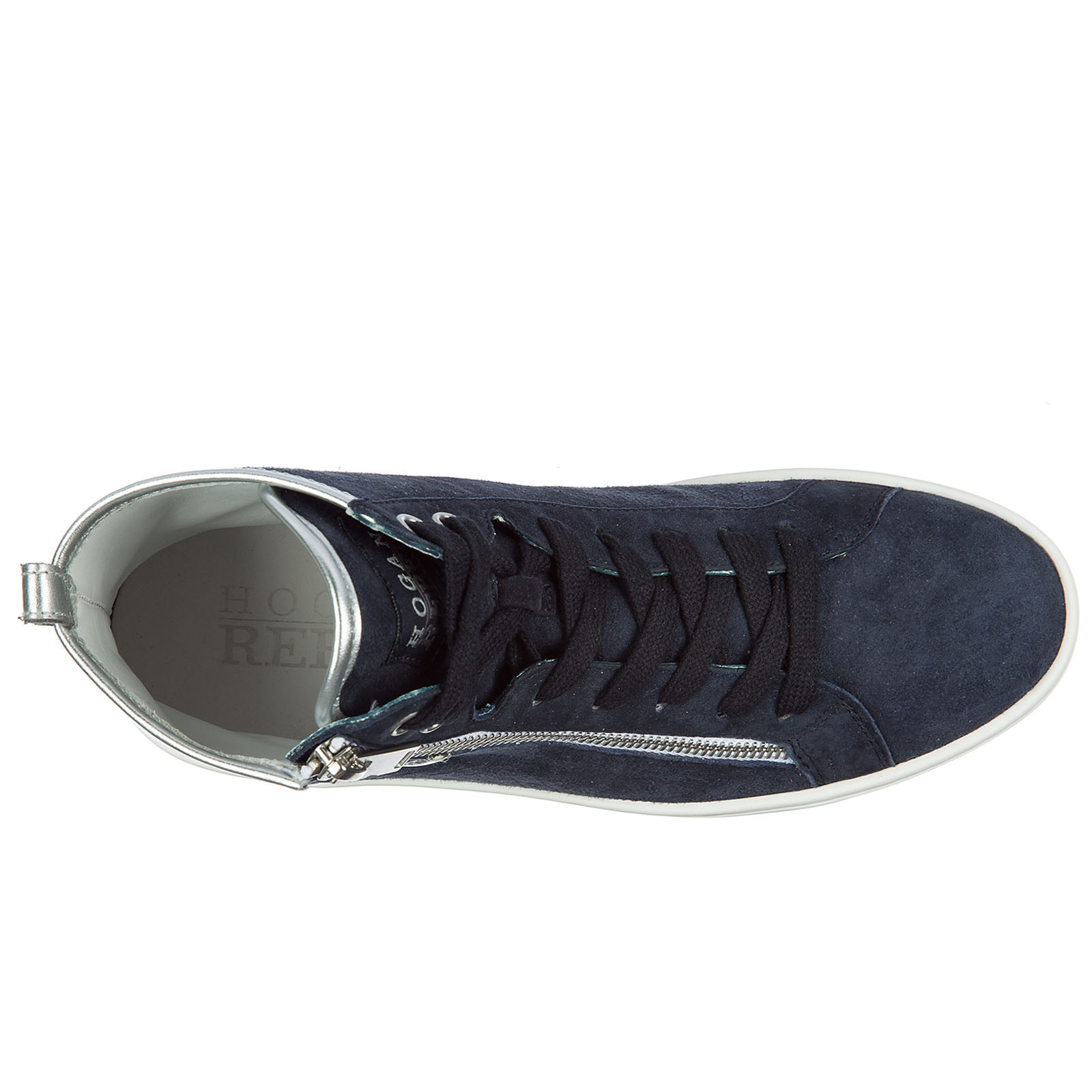 Sneakers alte Hogan Rebel R182 HXW1820Q980VR2123F argento blu denim ... b83f9765715