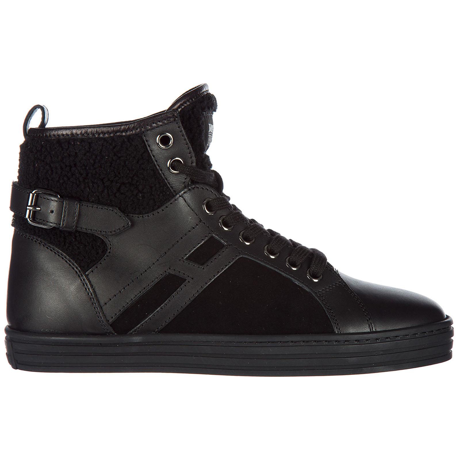 Scarpe sneakers alte donna in pelle r182 mid cut