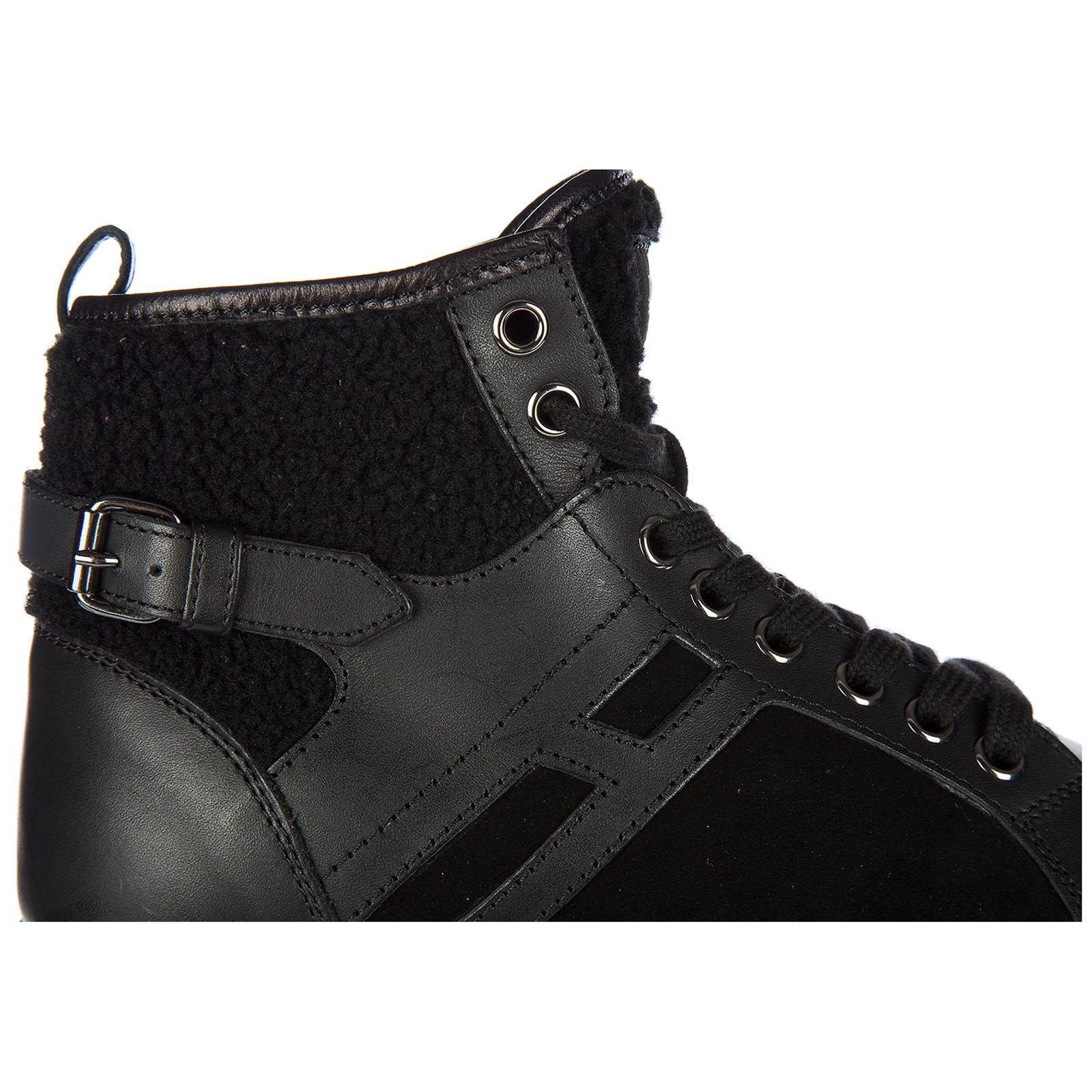 Blu Platino Hogan Rebel Scarpe Sneakers Alte In Pelle R182
