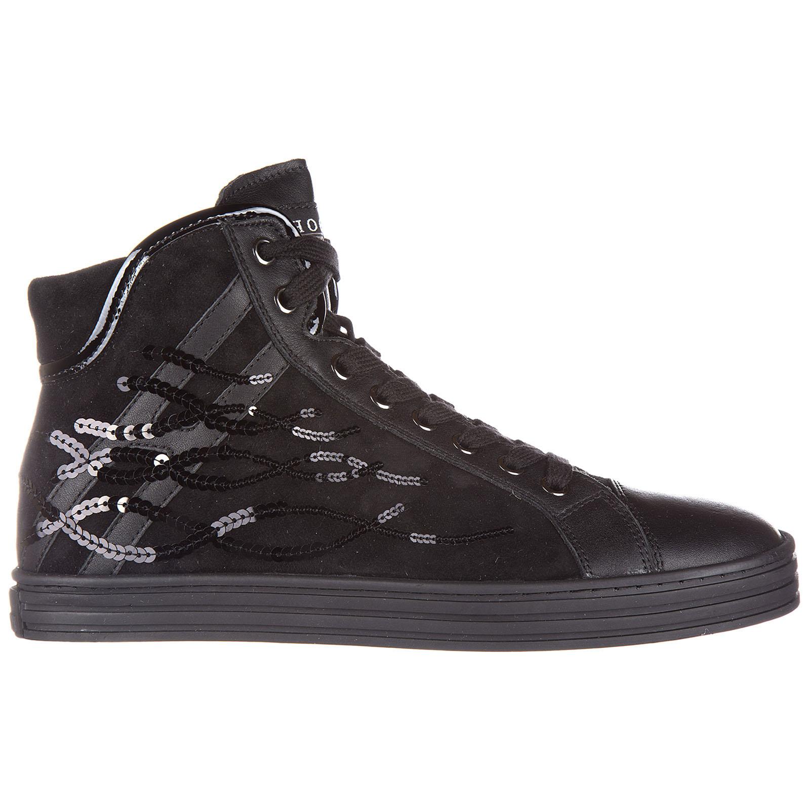 Scarpe sneakers alte donna in camoscio r182 paillettes onde