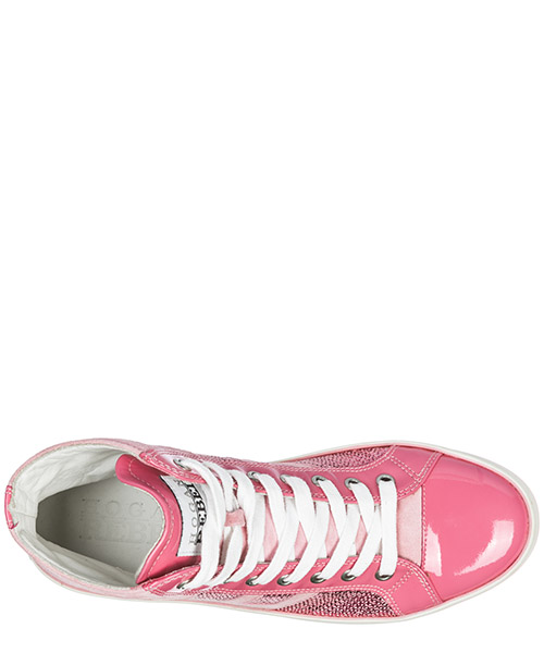 Scarpe sneakers alte donna in camoscio r141 secondary image