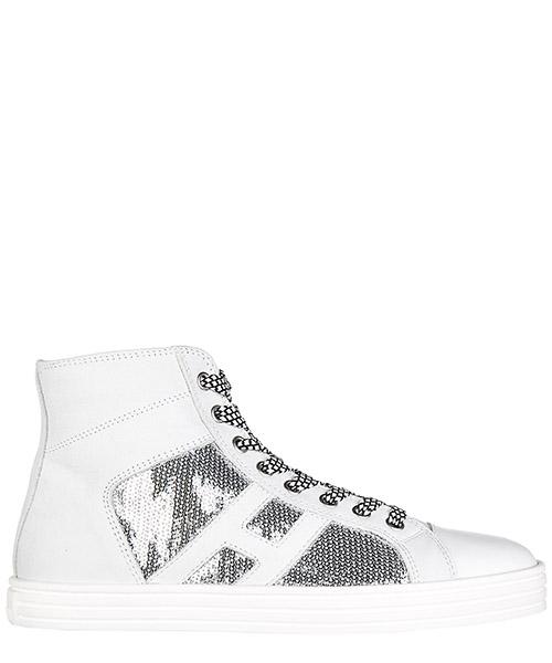 Sneakers alte Hogan Rebel HXW1410P990FJC0906 argento bianco