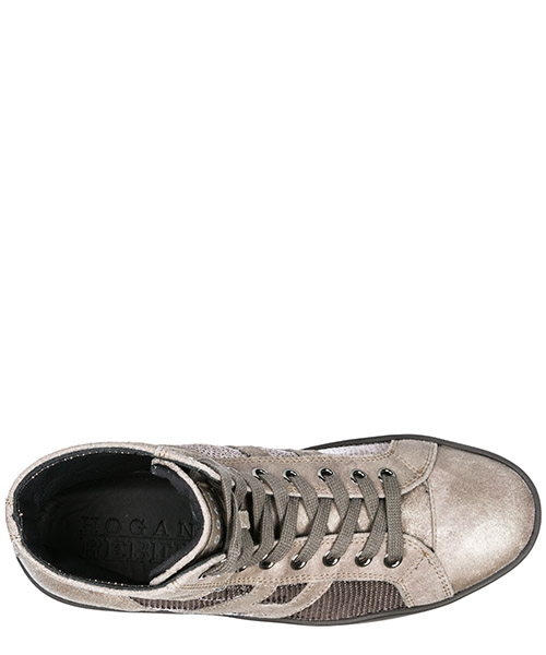 Scarpe sneakers alte donna in pelle r141 secondary image