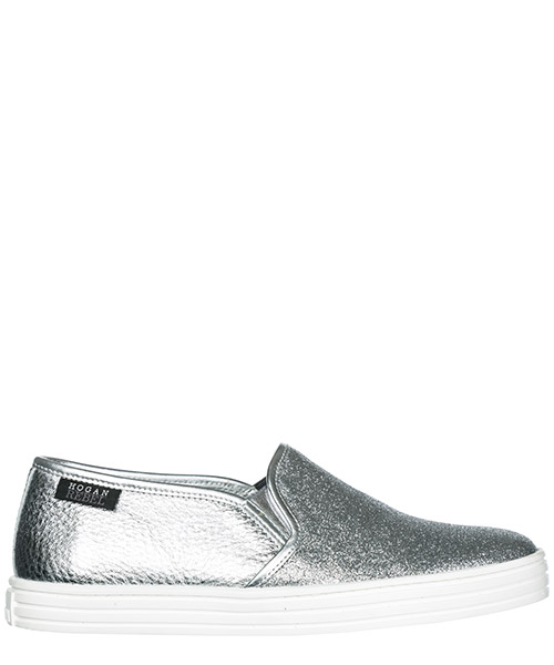 9102f2b05dcc Slip-on Hogan Rebel R141 HXW1410Q560GAJB200 argento Damen leder slip on  slipper ...