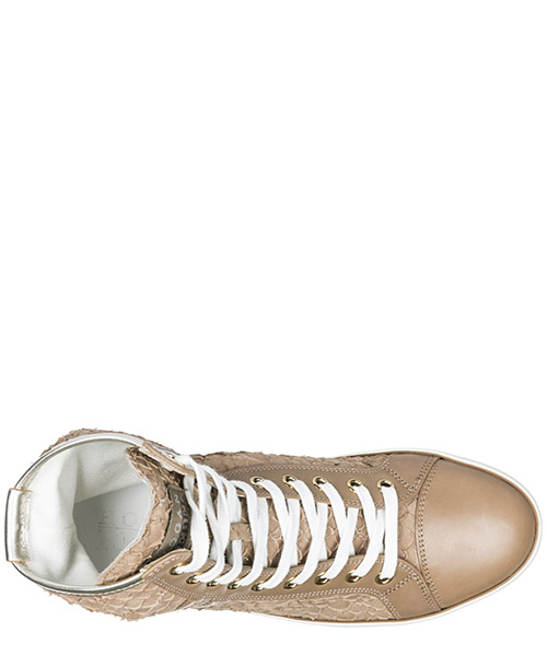 Scarpe sneakers alte donna in pelle r182 secondary image