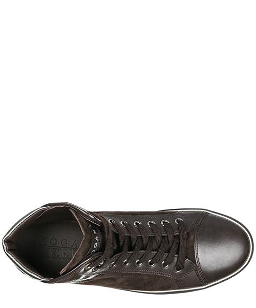 Scarpe sneakers alte donna in camoscio r182 secondary image