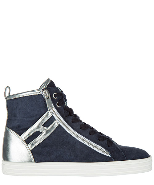 Sneakers alte Hogan Rebel HXW1820Q980VR2123F argento blu denim