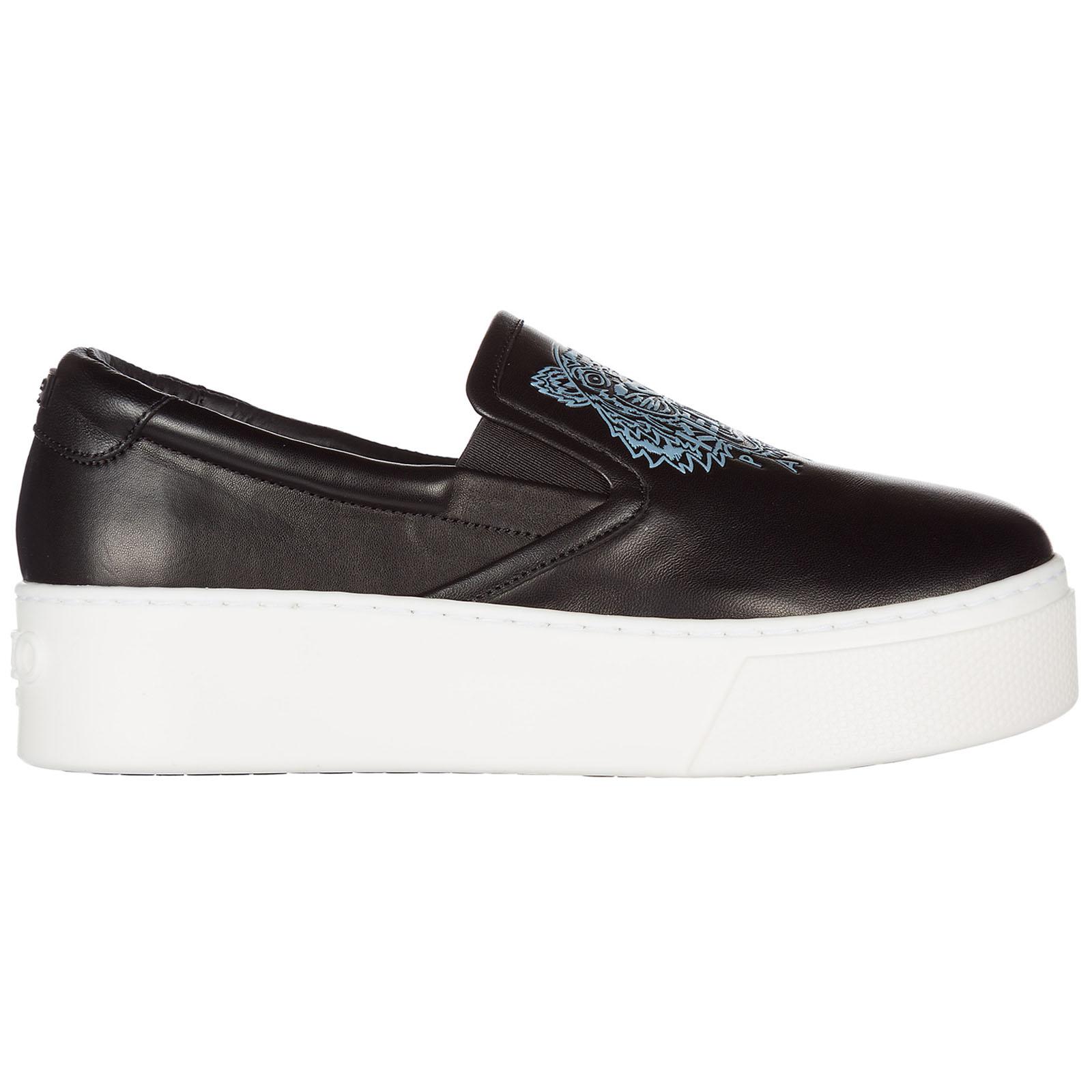 Kenzo Damen Leder Slip on Slipper Sneakers Schwarz EU 38 F762SL490L5099 EwKBPgfpof