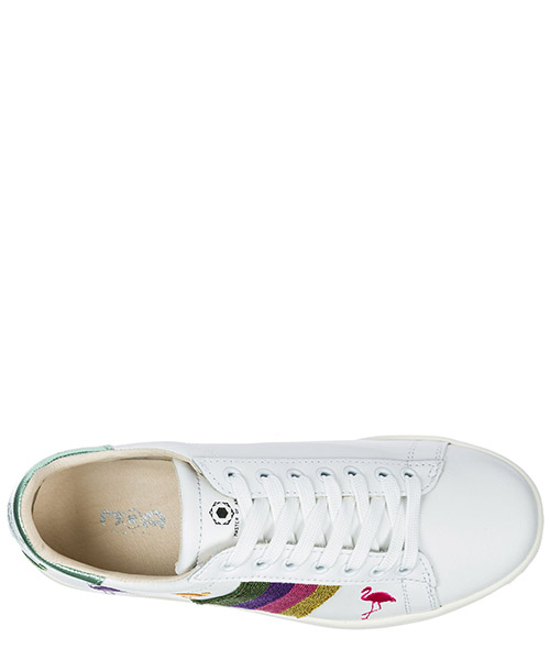 Women's shoes leather trainers sneakers flamingo secondary image