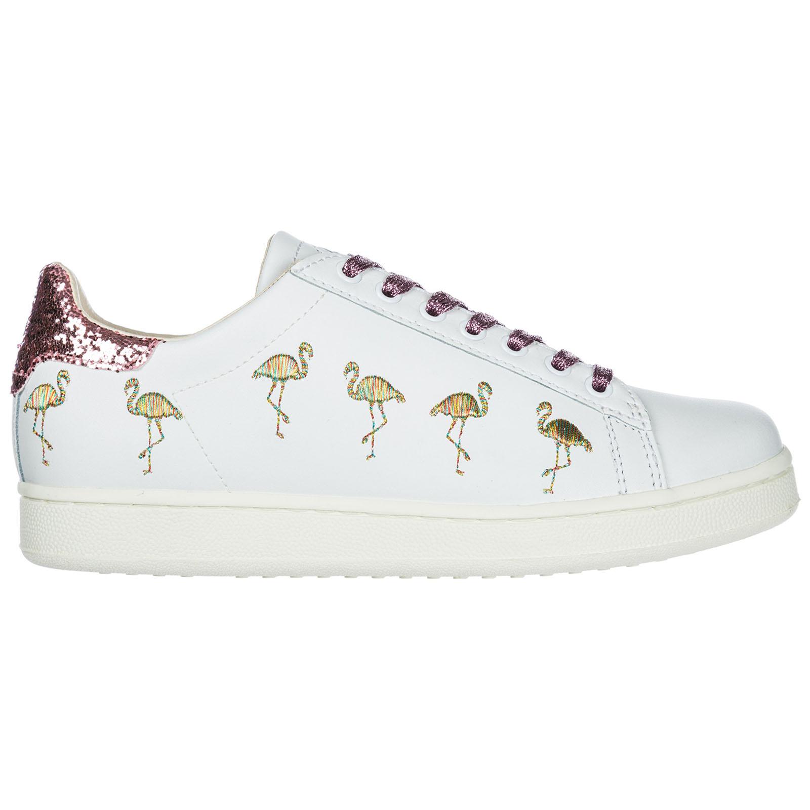 Scarpe sneakers donna in pelle flamingo