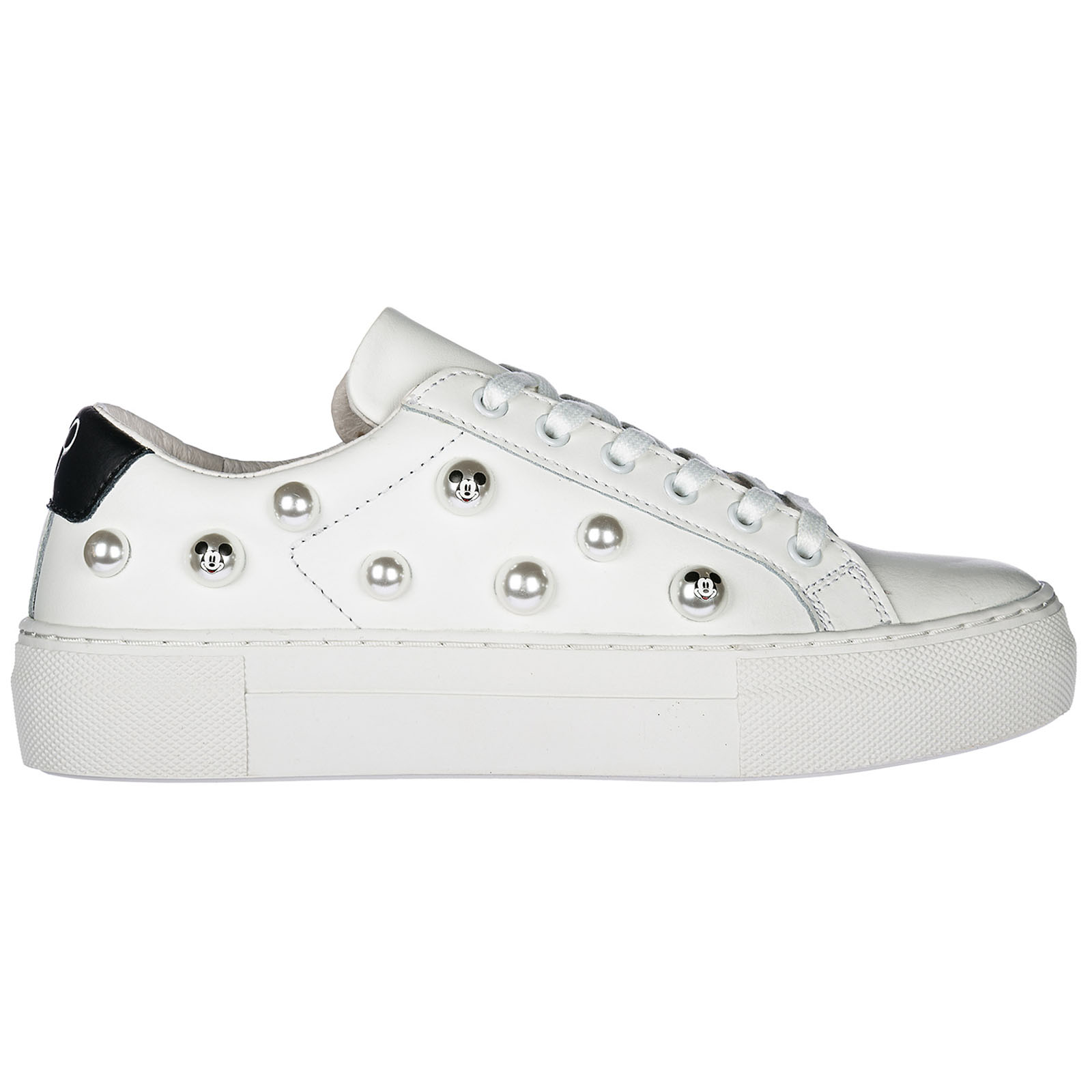 WOMEN'S SHOES LEATHER TRAINERS SNEAKERS DISNEY CLOUD PEARL
