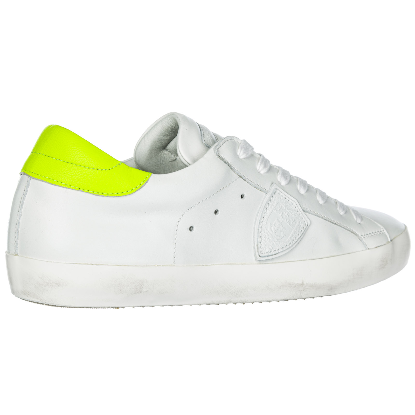 56bee41042e799 Basket Philippe Model Paris A19ECLLUVN06 veau neon blanc jaune ...