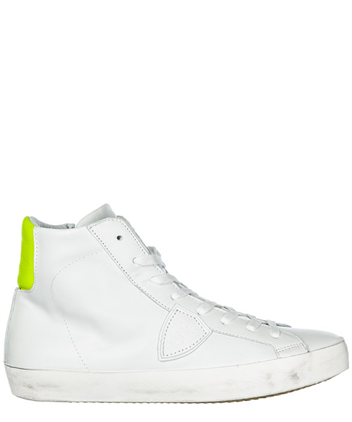 High top sneakers Philippe Model Paris A19ECLHUVN06 veau neon blanc jaune