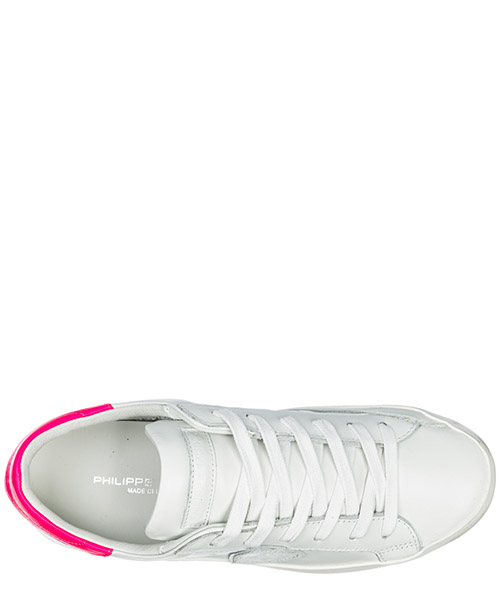 Basket Philippe Model Paris A19ECLLDVN09 veau neon blanc fucsia Chaussures  baskets sneakers femme en cuir paris secondary image 0917f84803dd