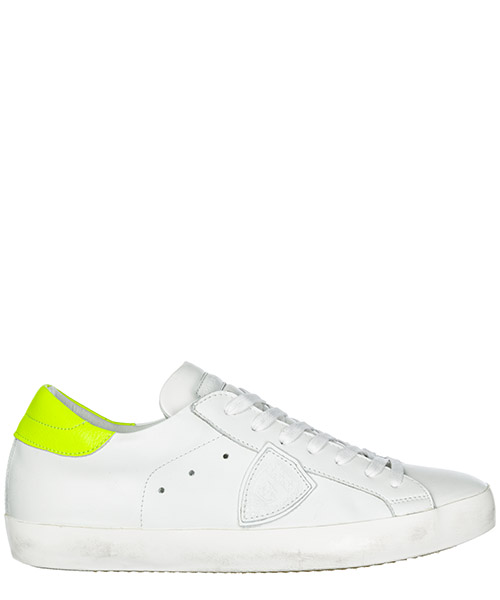 Basket Philippe Model Paris A19ECLLUVN06 veau neon blanc jaune