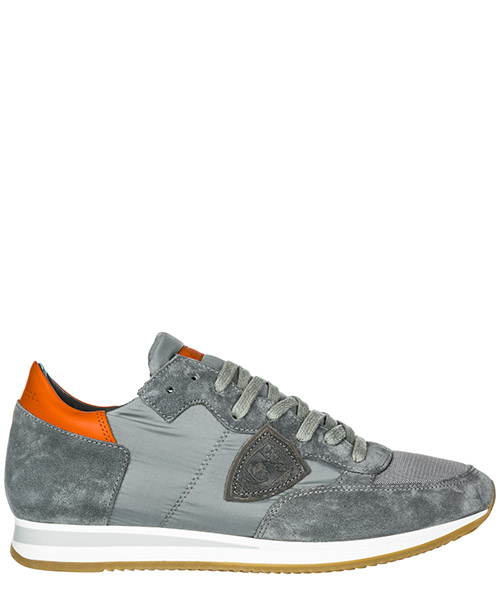 Basket Philippe Model Tropez A19ETRLUW043 mondial gris orange