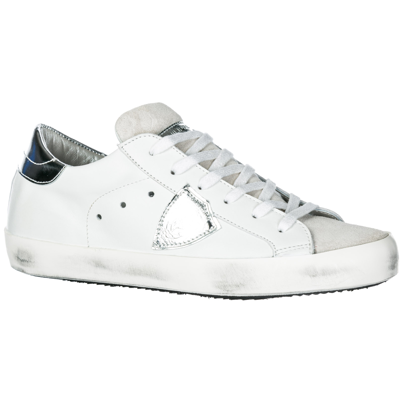 46ac6760f785e1 Basket Philippe Model Paris A1UNCLLD1005 basic blanc silver | FRMODA.com