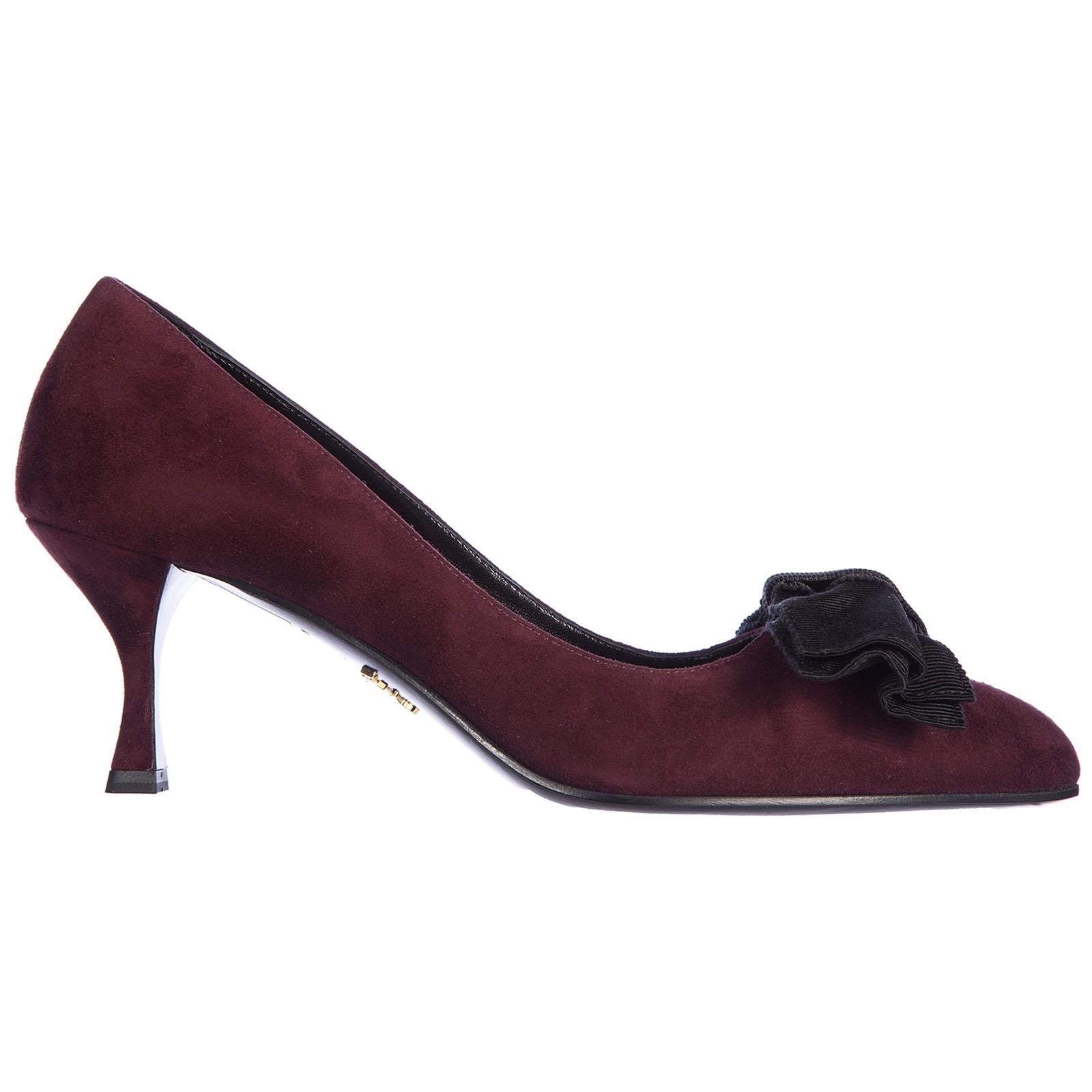 Decolletes decoltè scarpe donna con tacco camoscio fiocco