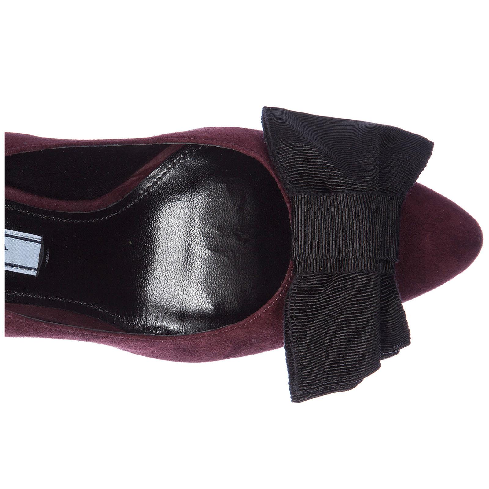 545db22634 ... Decolletes decoltè scarpe donna con tacco camoscio fiocco ...