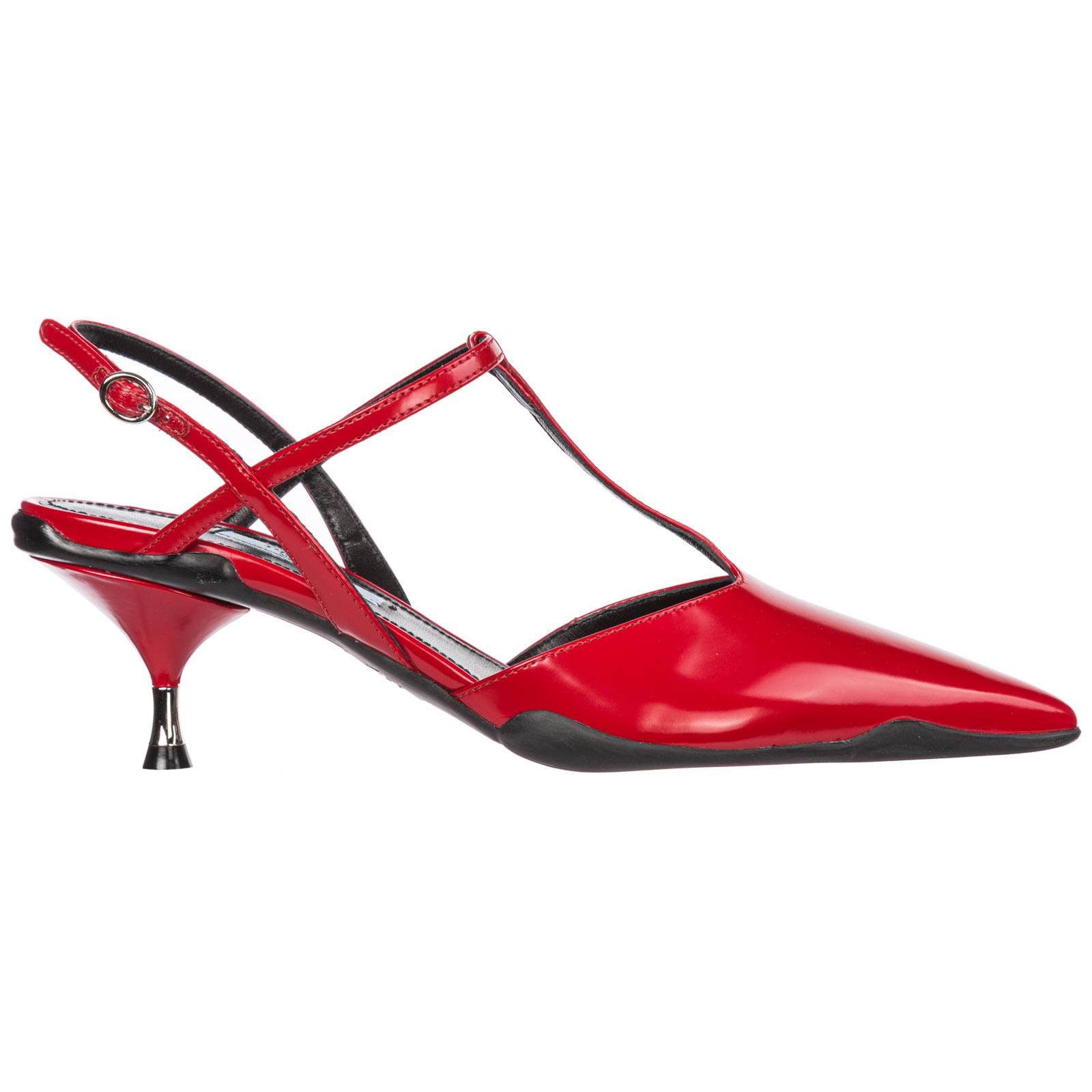 Prada Women's Leather Heel Sandals In Red