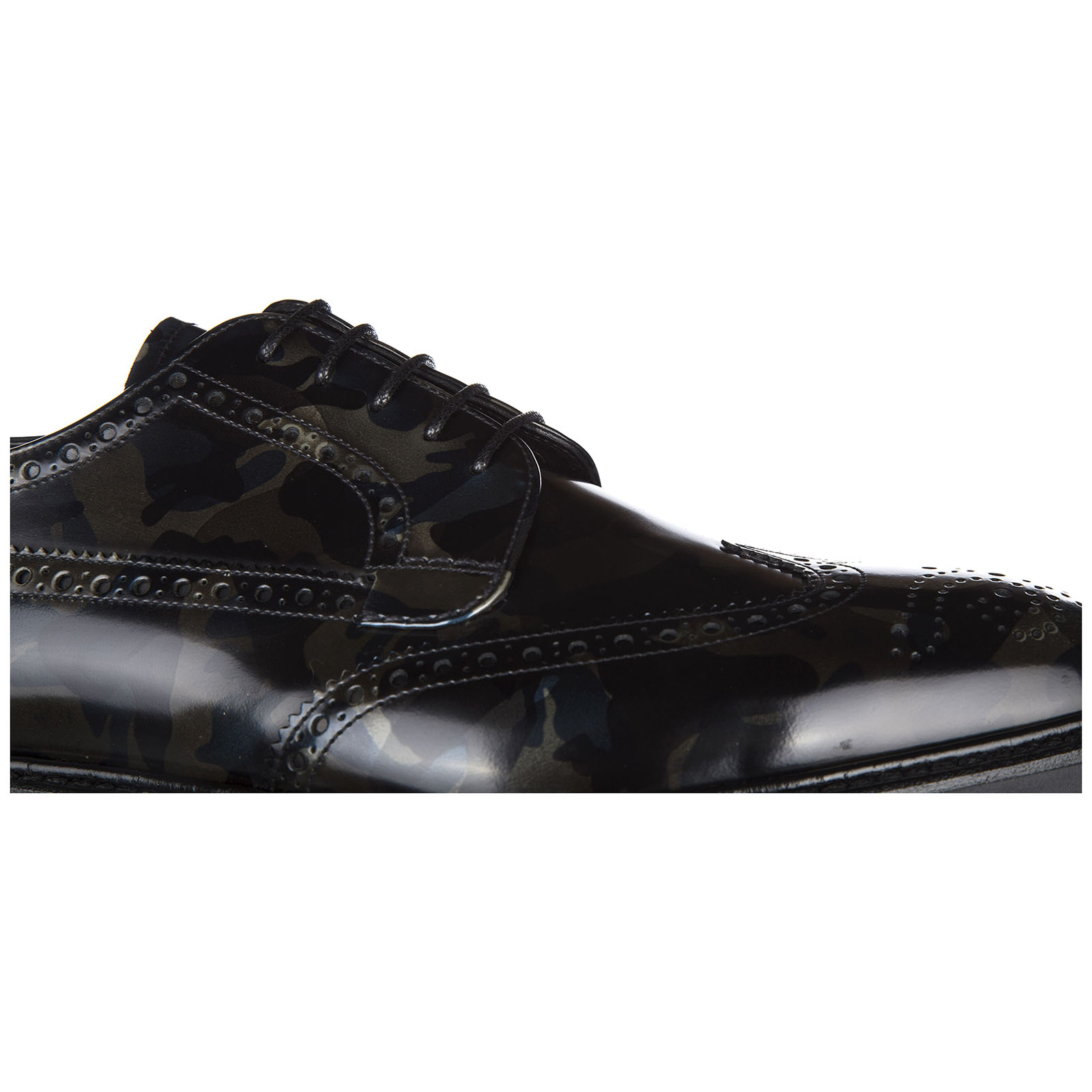 Men's classic leather lace up laced formal shoes spazzolato camouflage derby