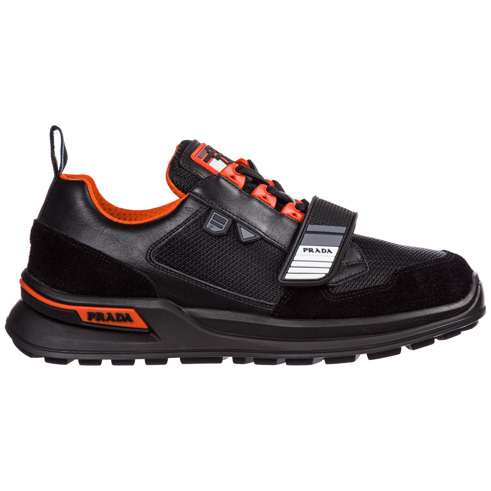 Prada Mechano Sneakers In Black Leather