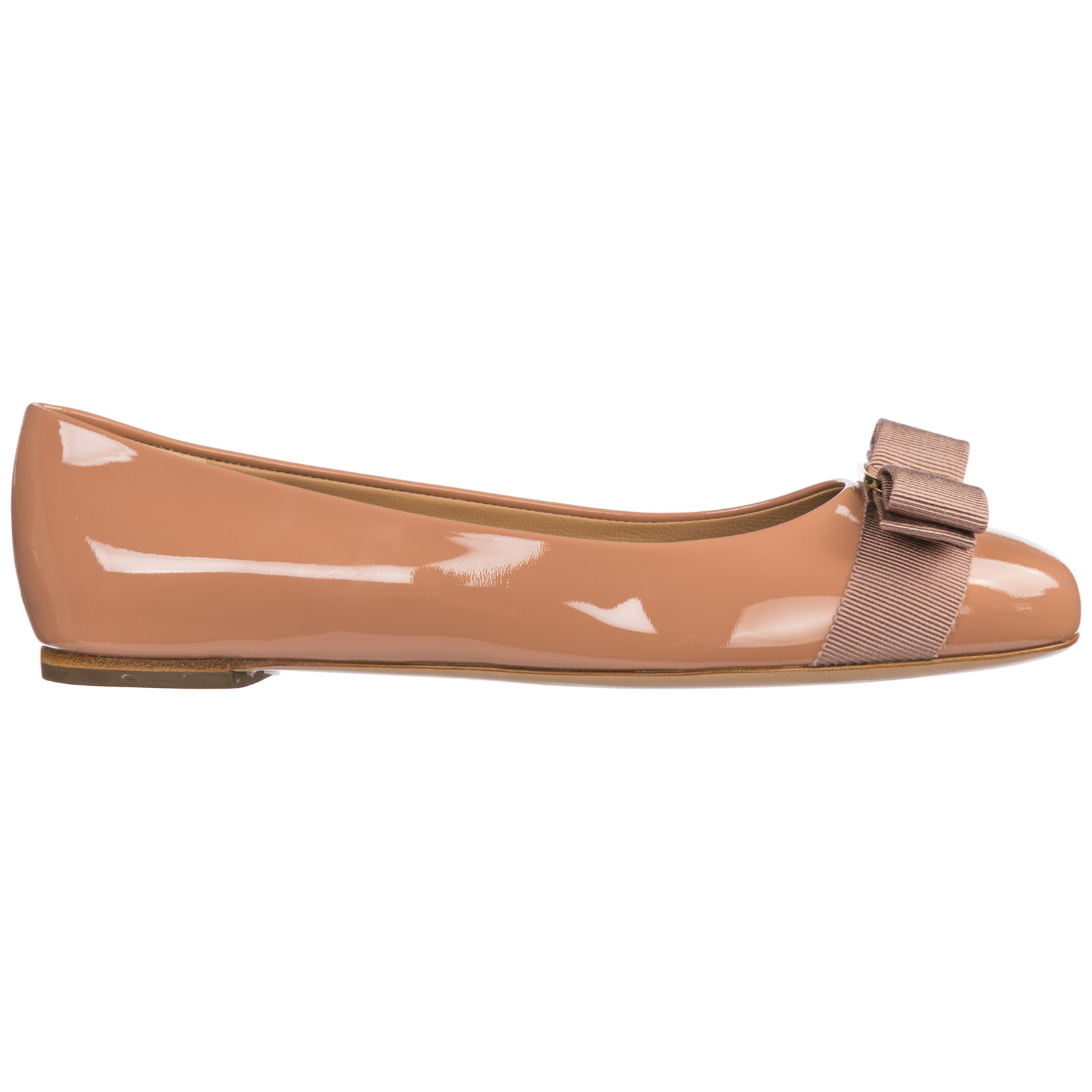 Salvatore Ferragamo Women's Leather Ballet Flats Ballerinas  Varina In Beige