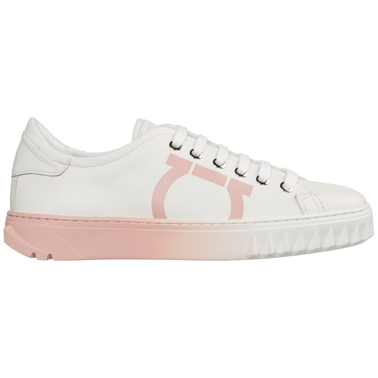 Salvatore Ferragamo Women's Shoes Leather Trainers Sneakers Gancini In White