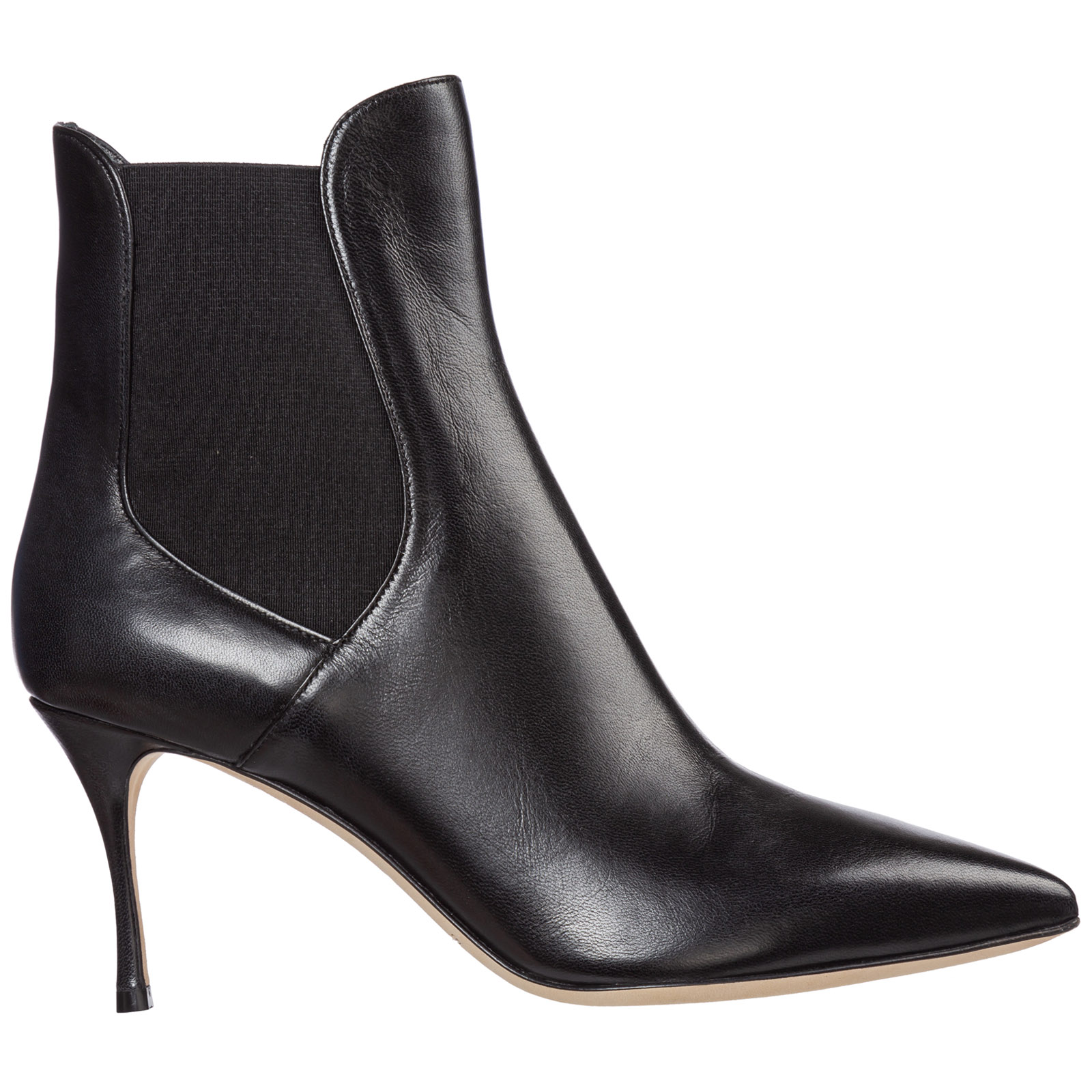 Sergio Rossi Boots WOMEN'S LEATHER HEEL ANKLE BOOTS BOOTIES GODIVA