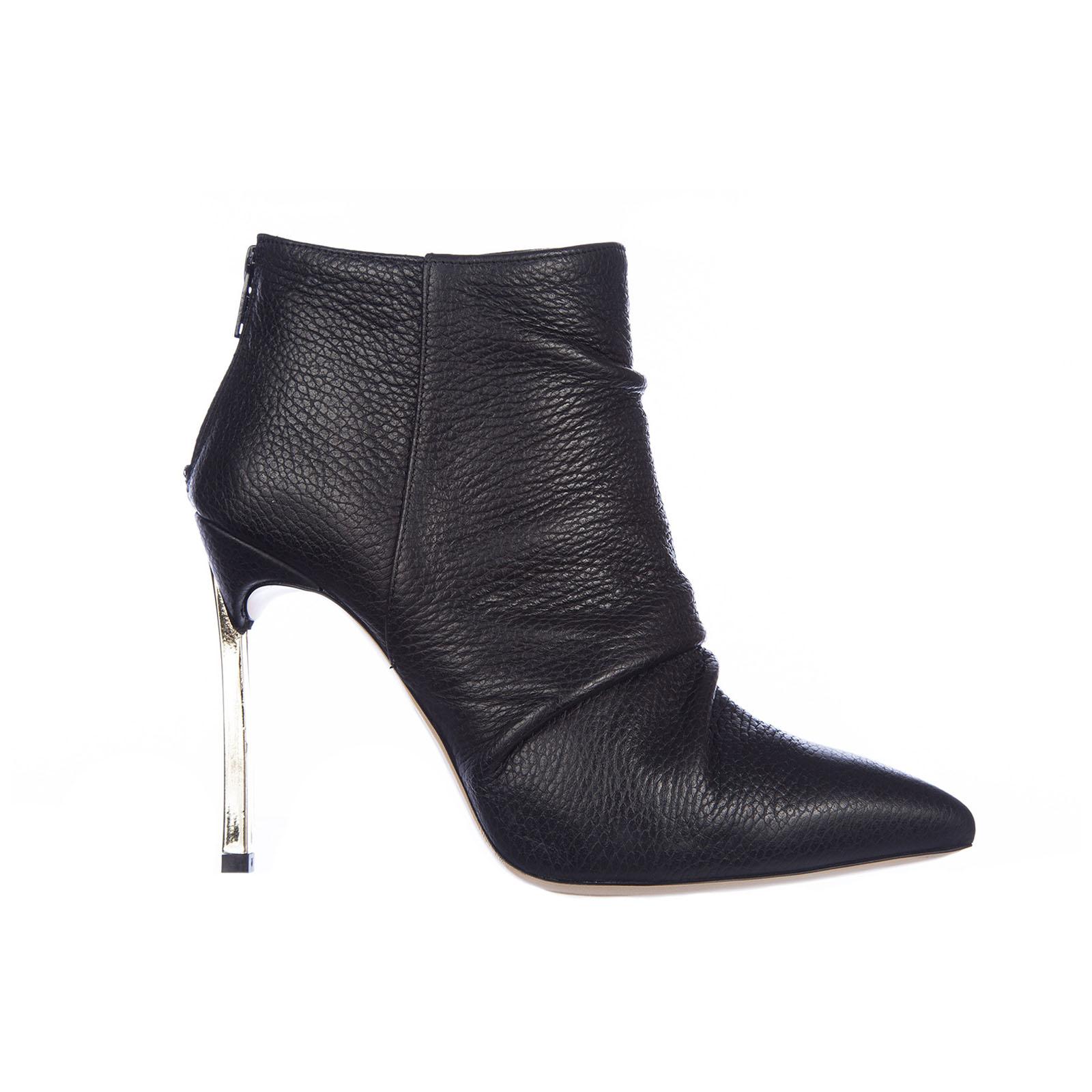 Tronchetti stivaletti donna in pelle zip heel