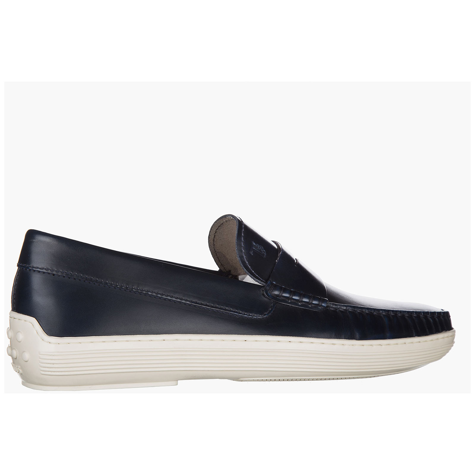 Men's leather loafers moccasins  fondo gomma
