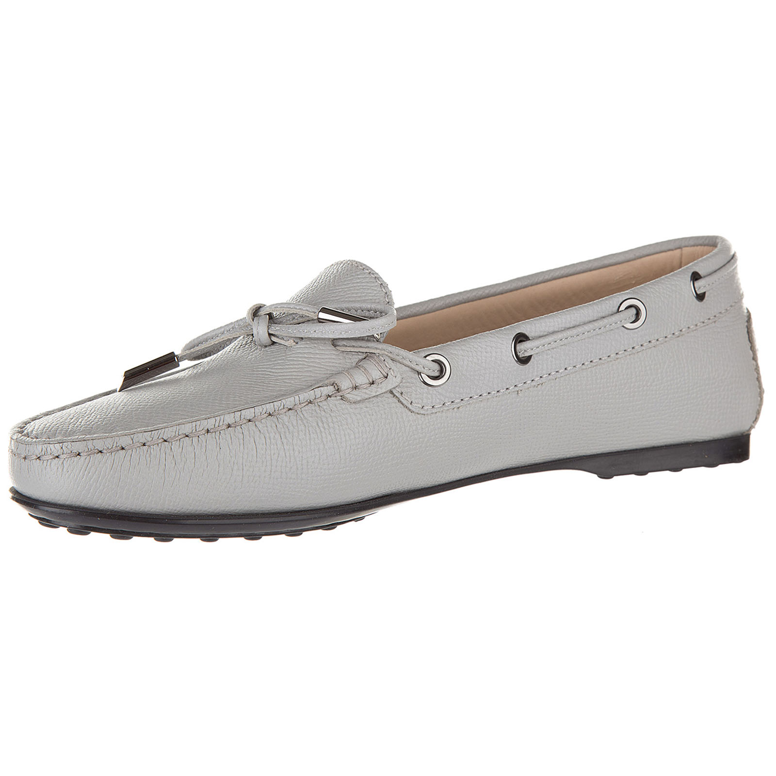 Women's leather loafers moccasins  gomma laccetto occhielli