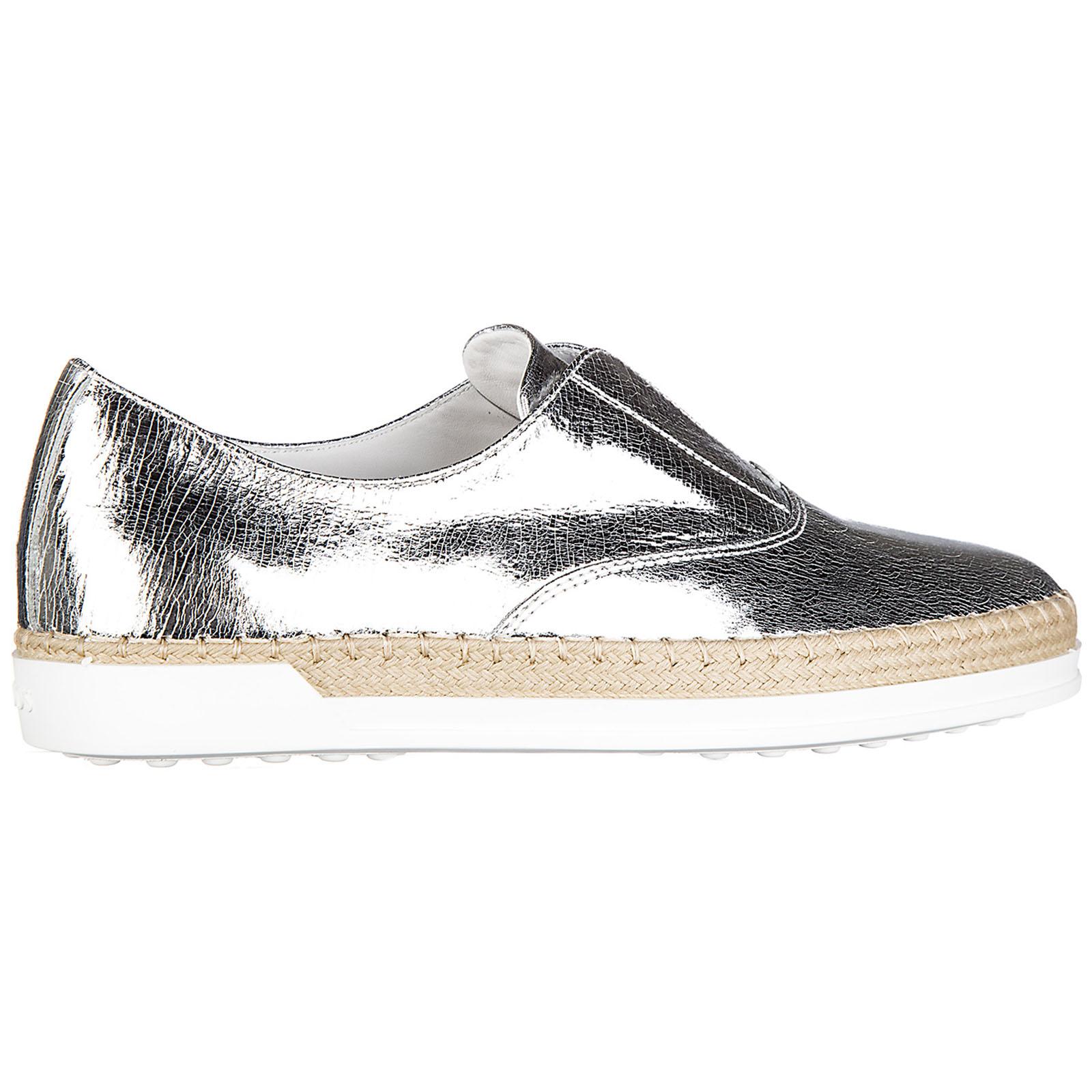 Slip on donna in pelle sneakers  gomma rafia francesina