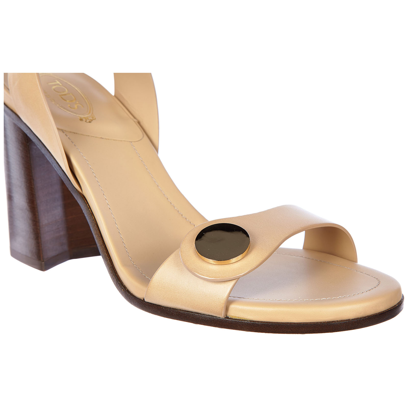 Women's leather heel sandals t90 cinturino bottone