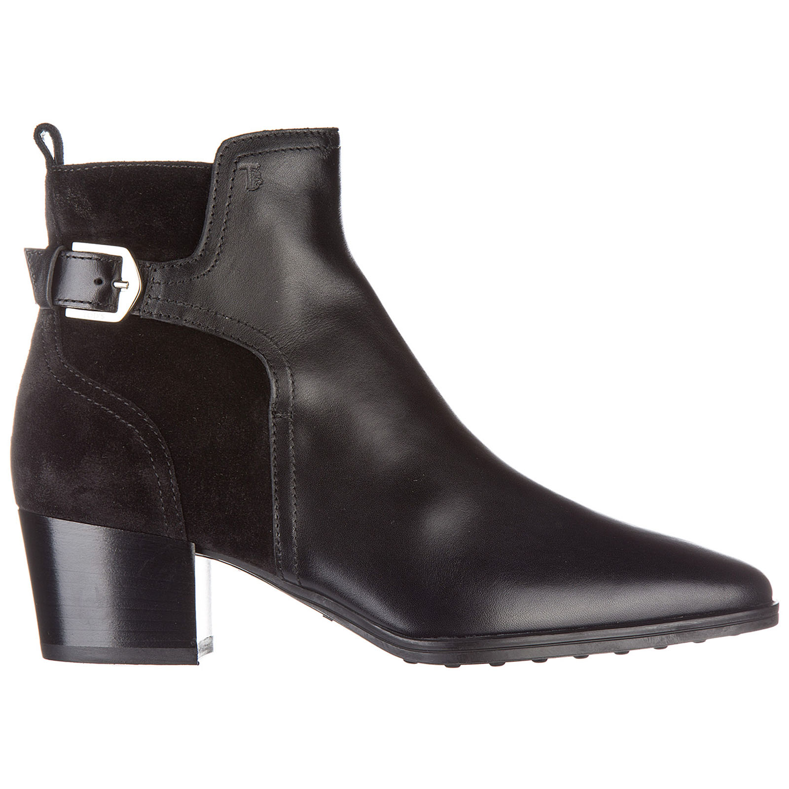 Women's leather heel ankle boots booties tronchetto