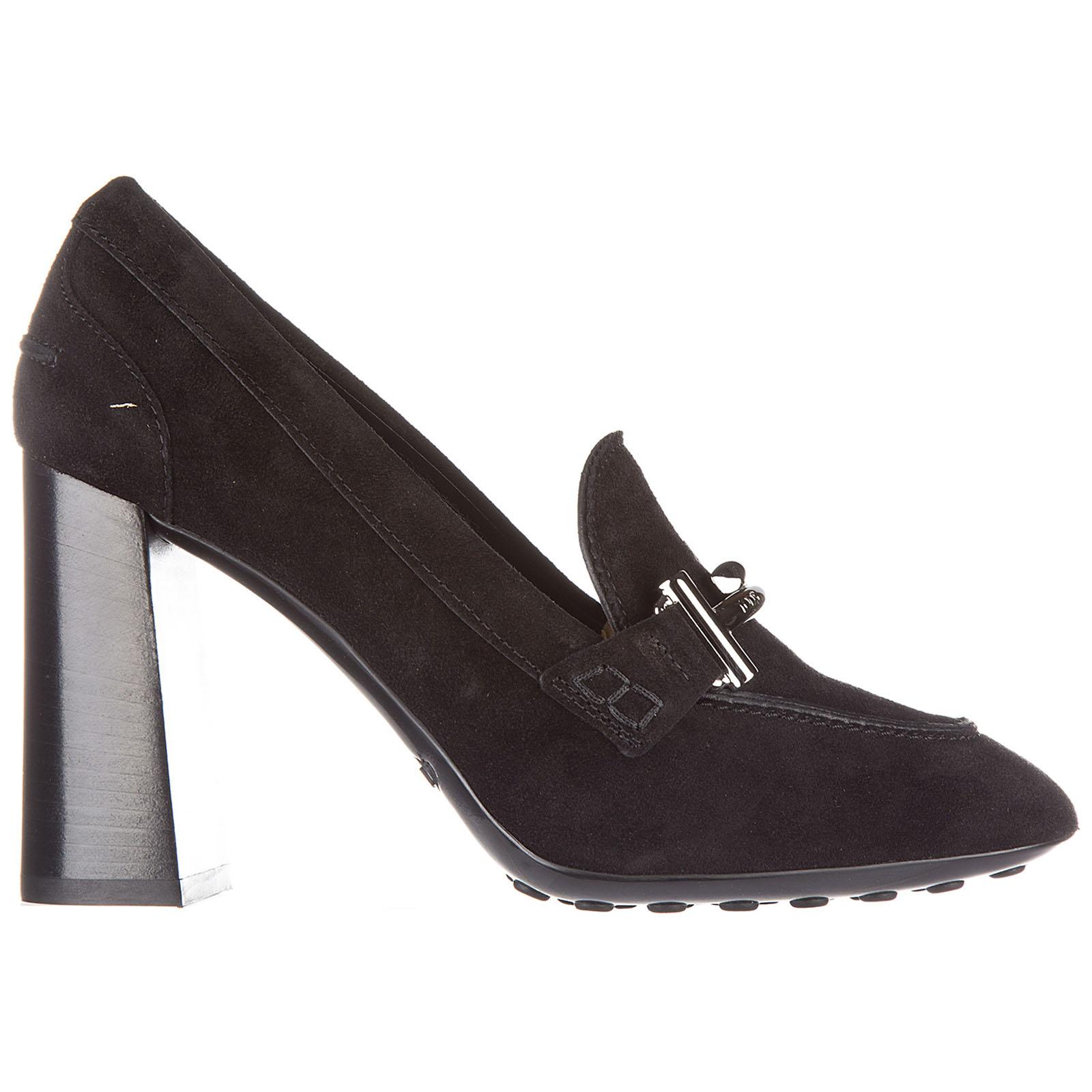 Escarpins chaussures femme à talon en daim double t