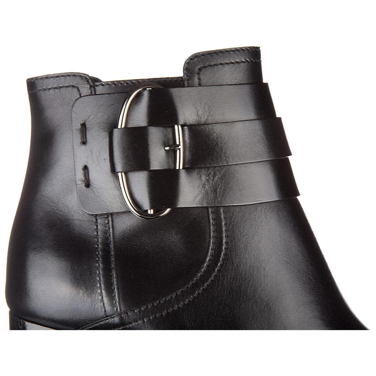 Stivaletti stivali donna con tacco in pelle tronchetto