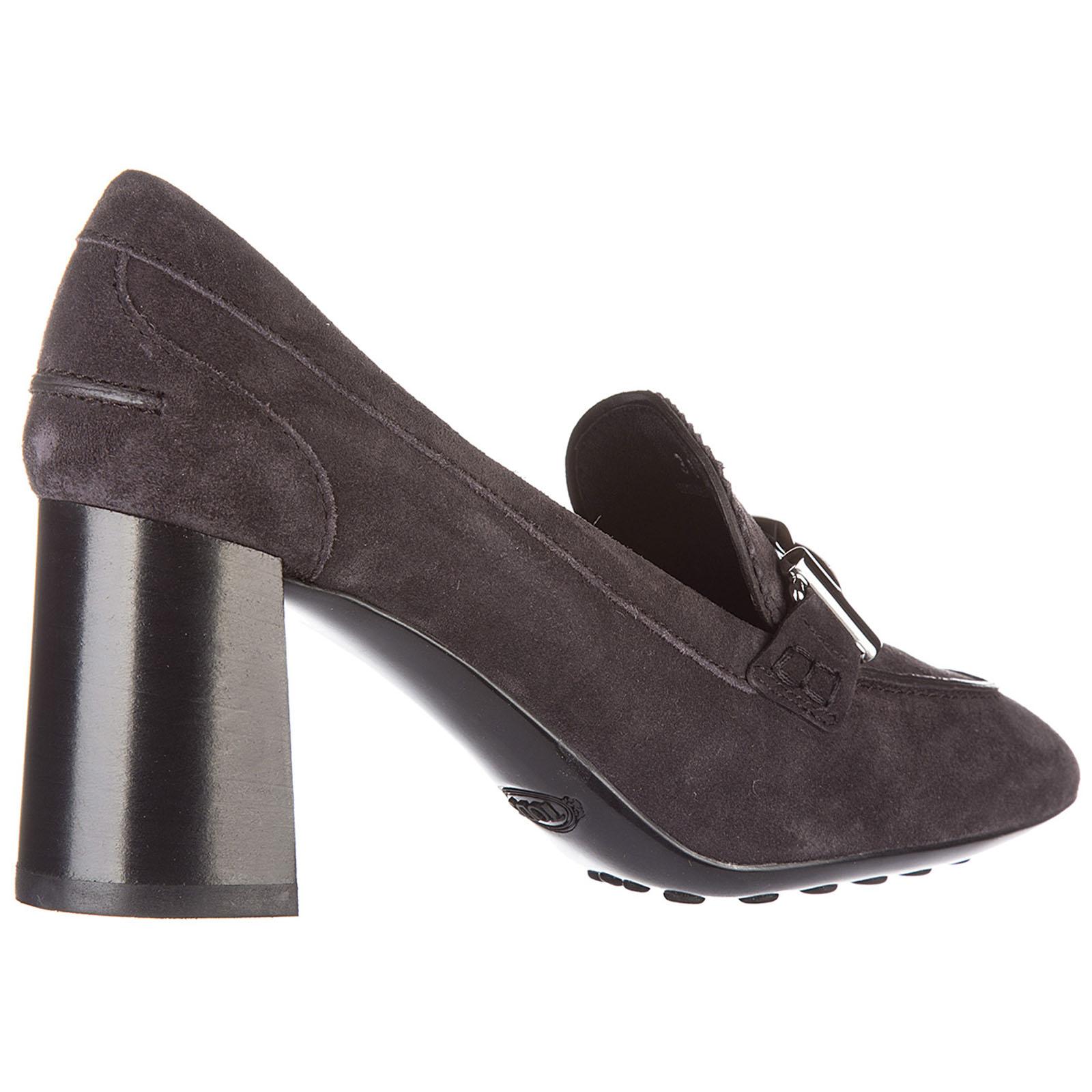 Decolletes decoltè scarpe donna con tacco camoscio double t